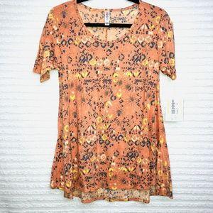 LulaRoe Perfect T Orange Abstract Shirt